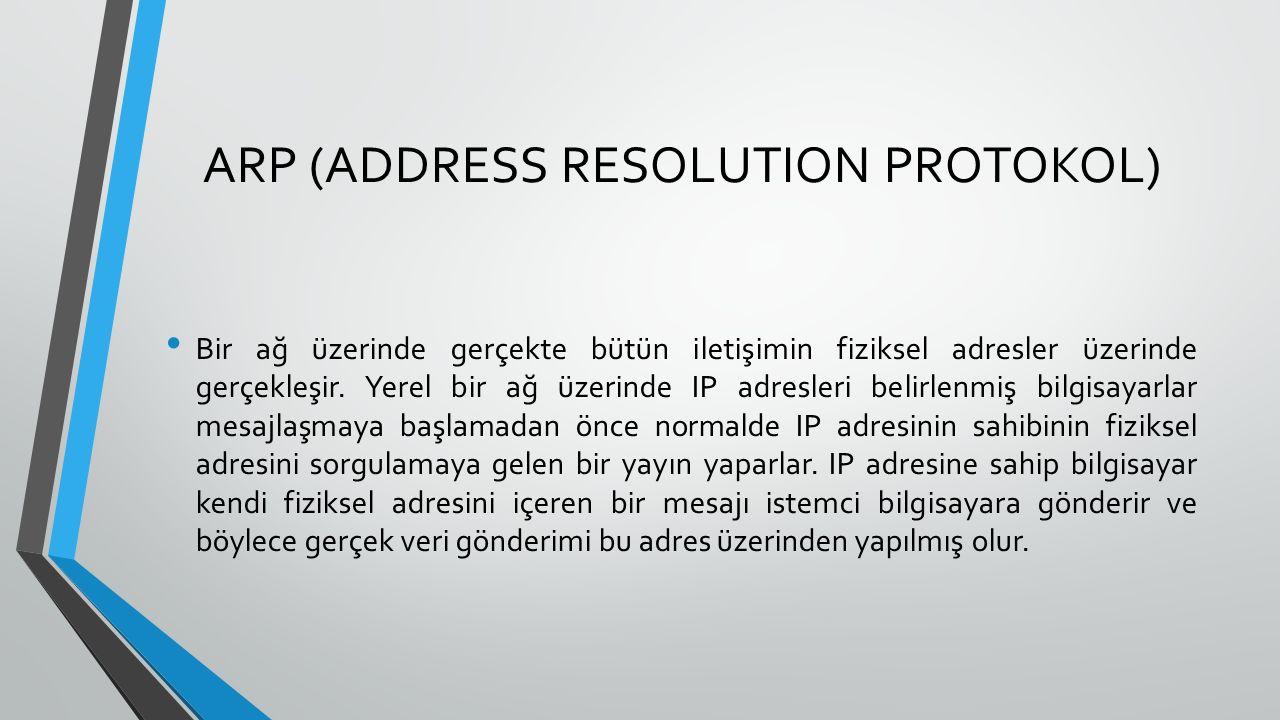 ARP (ADDRESS RESOLUTION PROTOKOL) Bir ağ üzerinde gerçekte bütün iletişimin fiziksel adresler üzerinde gerçekleşir.