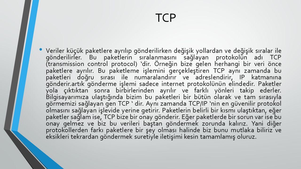 TCP Veriler küçük paketlere ayrılıp gönderilirken değişik yollardan ve değişik sıralar ile gönderilirler.