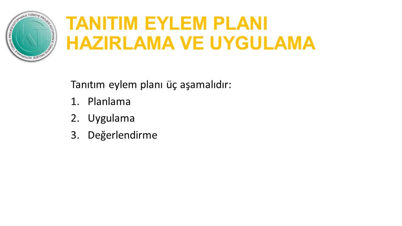 TANITIM EYLEM PLANI HAZIRLAMA VE UYGULAMA Tanıtım eylem planı üç aşamalıdır: 1.Planlama 2.Uygulama 3.Değerlendirme