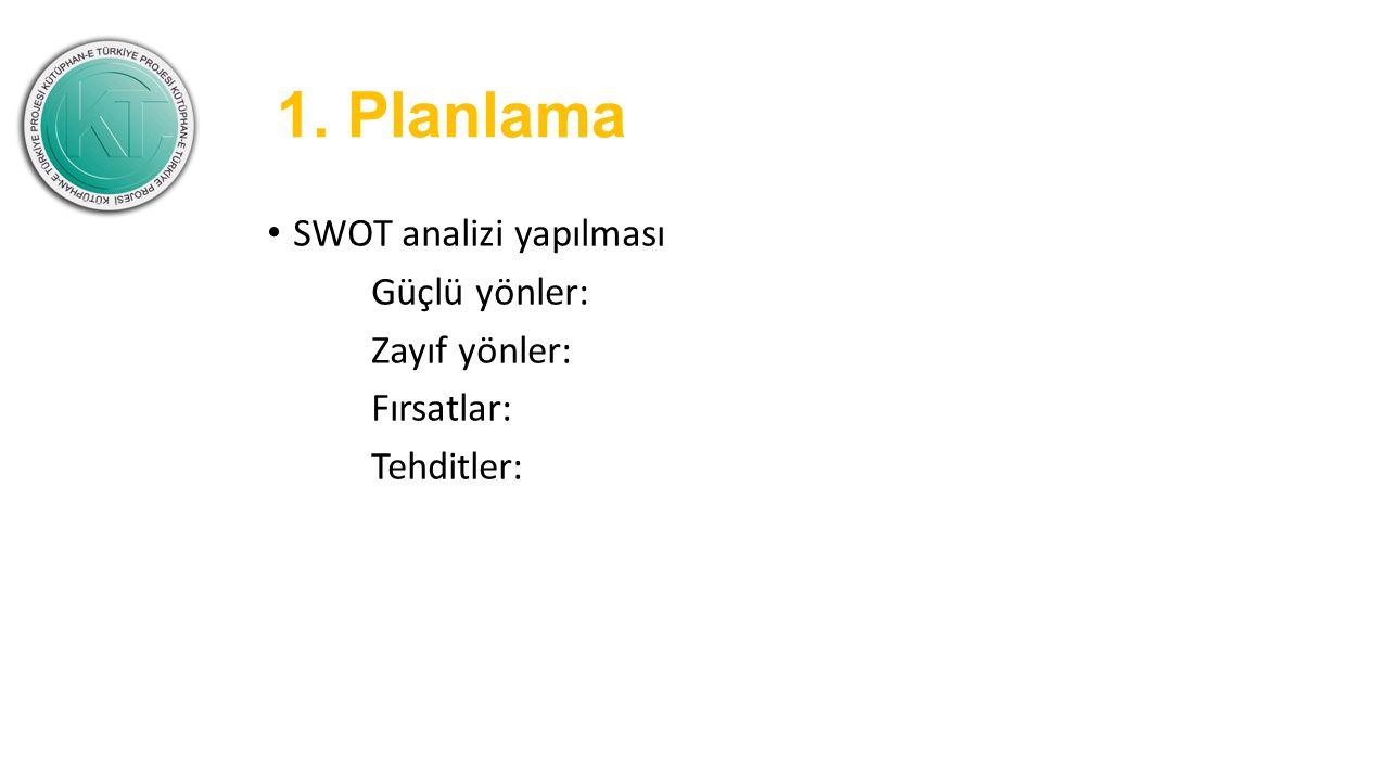 1. Planlama SWOT analizi yapılması Güçlü yönler: Zayıf yönler: Fırsatlar: Tehditler: