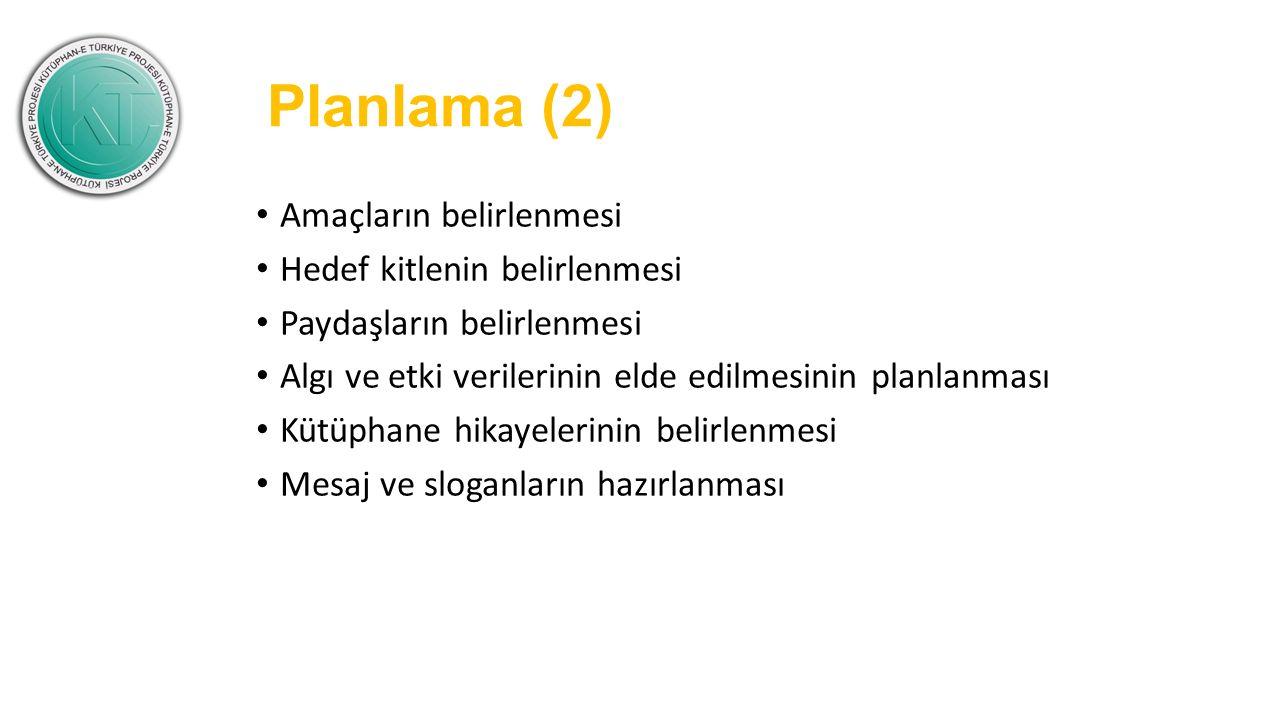 Planlama (2) Amaçların belirlenmesi Hedef kitlenin belirlenmesi Paydaşların belirlenmesi Algı ve etki verilerinin elde edilmesinin planlanması Kütüpha
