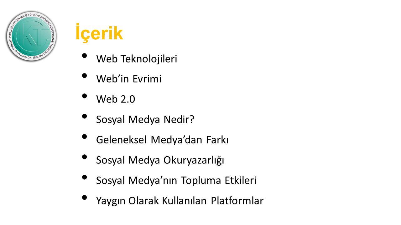 İçerik Web Teknolojileri Web'in Evrimi Web 2.0 Sosyal Medya Nedir.