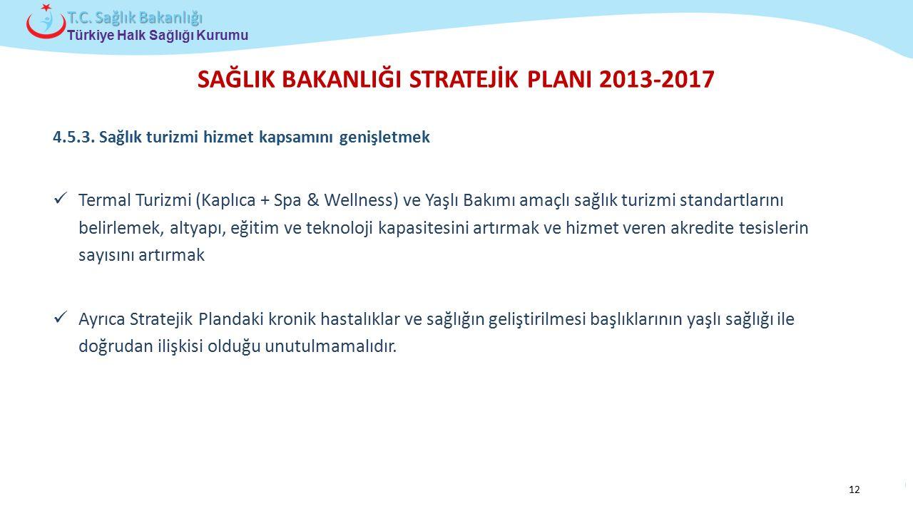 Çocuk ve Ergen Sağlığı Daire Başkanlığı Türkiye Halk Sağlığı Kurumu T.C. Sağlık Bakanlığı SAĞLIK BAKANLIĞI STRATEJİK PLANI 2013-2017 4.5.3. Sağlık tur
