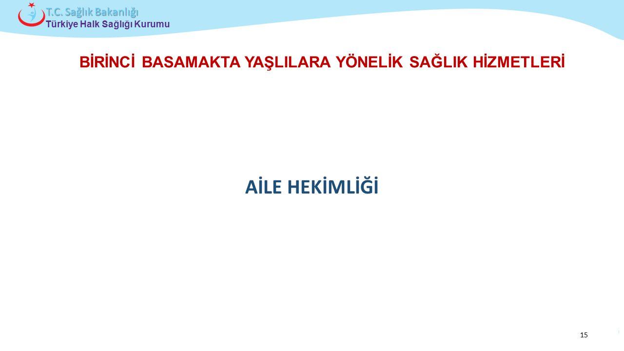 Çocuk ve Ergen Sağlığı Daire Başkanlığı Türkiye Halk Sağlığı Kurumu T.C. Sağlık Bakanlığı BİRİNCİ BASAMAKTA YAŞLILARA YÖNELİK SAĞLIK HİZMETLERİ AİLE H