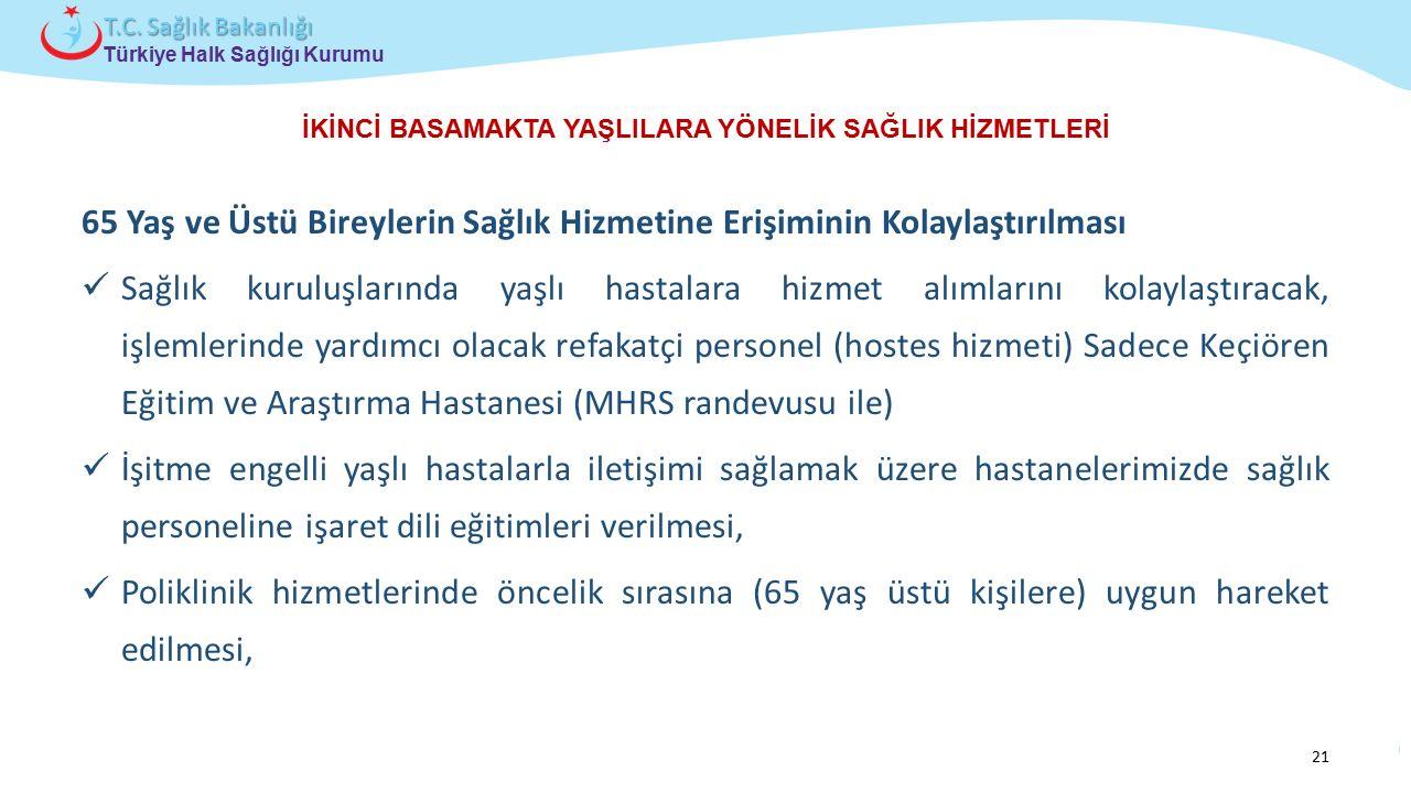 Çocuk ve Ergen Sağlığı Daire Başkanlığı Türkiye Halk Sağlığı Kurumu T.C. Sağlık Bakanlığı İKİNCİ BASAMAKTA YAŞLILARA YÖNELİK SAĞLIK HİZMETLERİ 65 Yaş