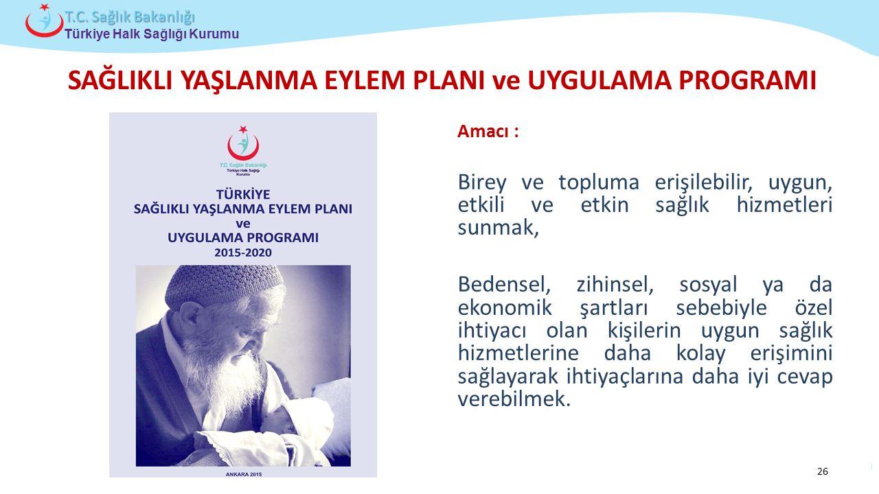 Çocuk ve Ergen Sağlığı Daire Başkanlığı Türkiye Halk Sağlığı Kurumu T.C. Sağlık Bakanlığı SAĞLIKLI YAŞLANMA EYLEM PLANI ve UYGULAMA PROGRAMI Amacı : B