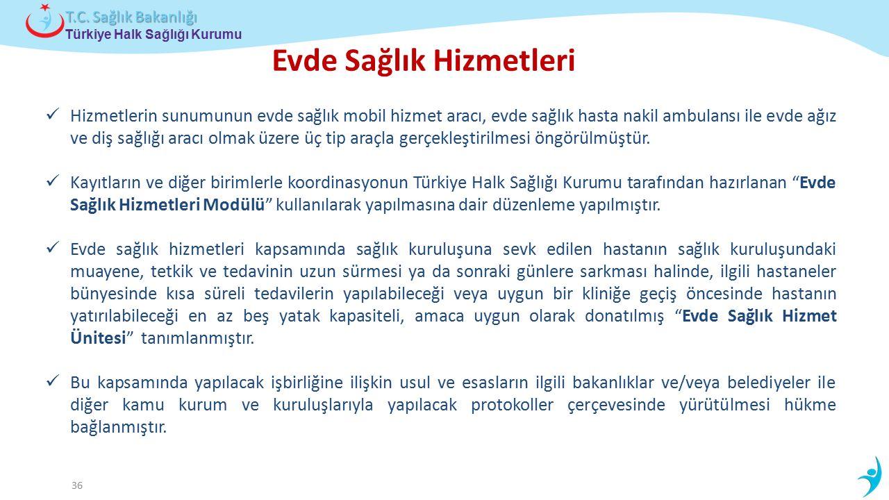 Çocuk ve Ergen Sağlığı Daire Başkanlığı Türkiye Halk Sağlığı Kurumu T.C. Sağlık Bakanlığı 36 Hizmetlerin sunumunun evde sağlık mobil hizmet aracı, evd