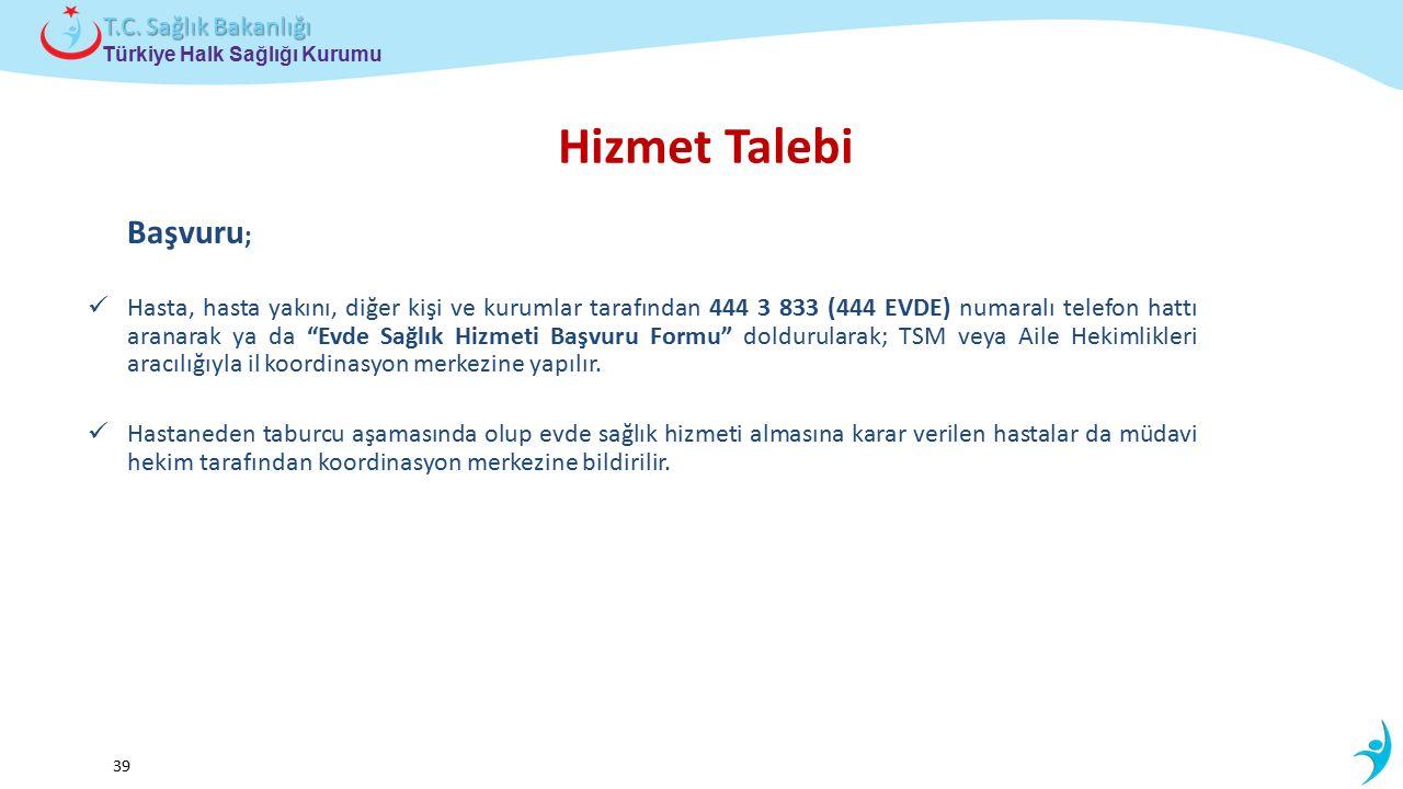 Çocuk ve Ergen Sağlığı Daire Başkanlığı Türkiye Halk Sağlığı Kurumu T.C. Sağlık Bakanlığı 39 Başvuru ; Hasta, hasta yakını, diğer kişi ve kurumlar tar
