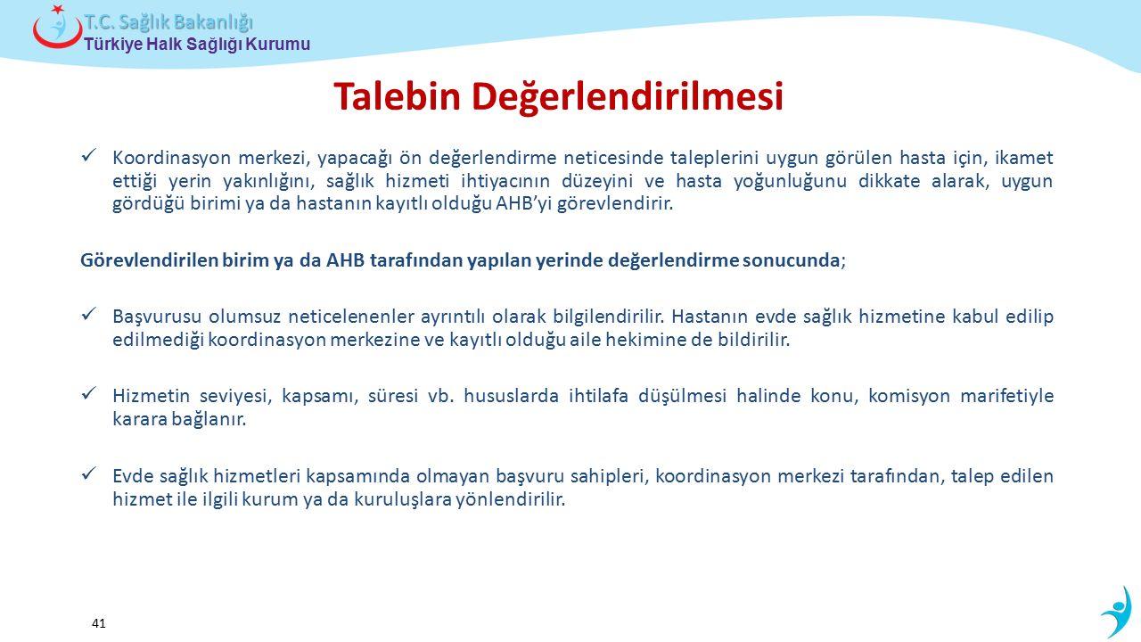 Çocuk ve Ergen Sağlığı Daire Başkanlığı Türkiye Halk Sağlığı Kurumu T.C. Sağlık Bakanlığı 41 Talebin Değerlendirilmesi Koordinasyon merkezi, yapacağı