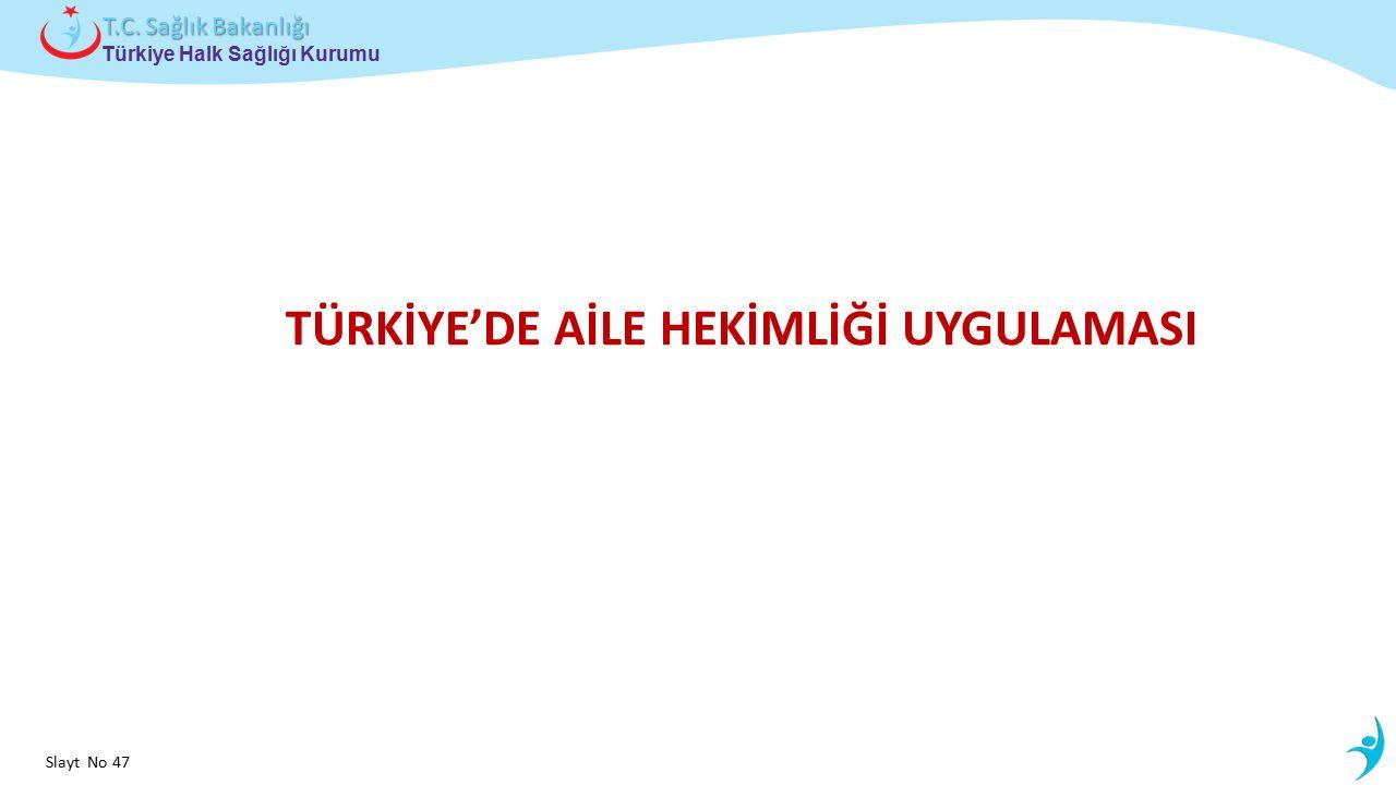 Çocuk ve Ergen Sağlığı Daire Başkanlığı Türkiye Halk Sağlığı Kurumu T.C. Sağlık Bakanlığı Slayt No 47 TÜRKİYE'DE AİLE HEKİMLİĞİ UYGULAMASI