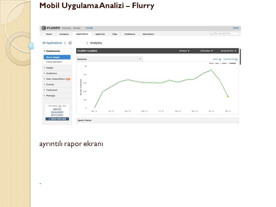Mobil Uygulama Analizi – Flurry ayrıntılı rapor ekranı -