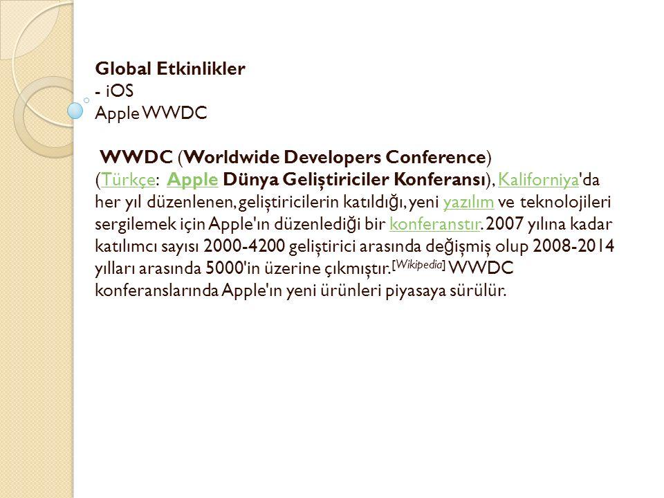 Global Etkinlikler - iOS Apple WWDC WWDC (Worldwide Developers Conference) (Türkçe: Apple Dünya Geliştiriciler Konferansı), Kaliforniya da her yıl düzenlenen, geliştiricilerin katıldı ğ ı, yeni yazılım ve teknolojileri sergilemek için Apple ın düzenledi ğ i bir konferanstır.
