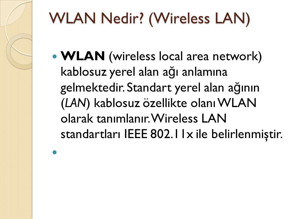 WLAN Nedir? (Wireless LAN) WLAN (wireless local area network) kablosuz yerel alan a ğ ı anlamına gelmektedir. Standart yerel alan a ğ ının (LAN) kablo