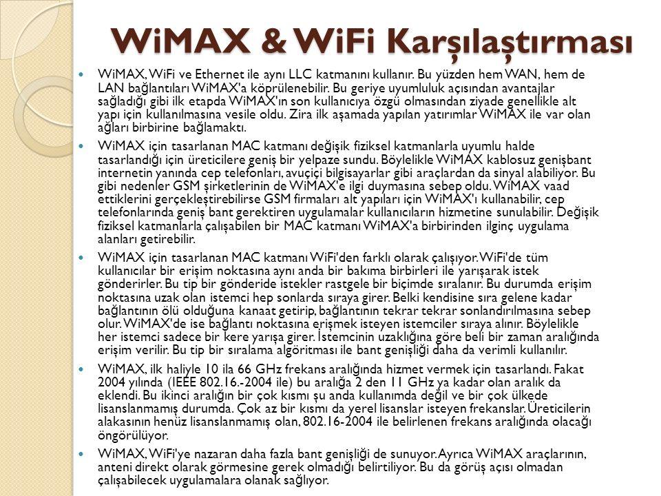 WiMAX & WiFi Karşılaştırması WiMAX, WiFi ve Ethernet ile aynı LLC katmanını kullanır. Bu yüzden hem WAN, hem de LAN ba ğ lantıları WiMAX'a köprülenebi