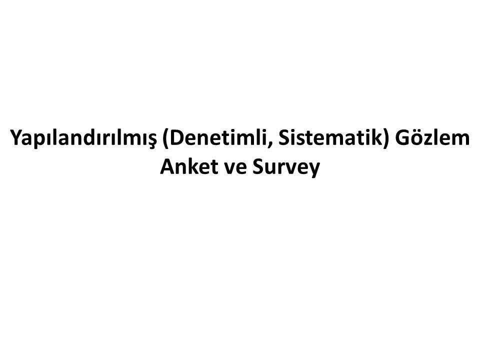 Yapılandırılmış (Denetimli, Sistematik) Gözlem Anket ve Survey