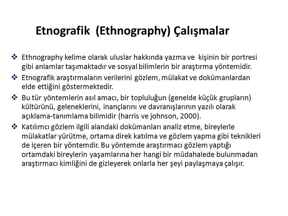 Etnografik (Ethnography) Çalışmalar  Ethnography kelime olarak uluslar hakkında yazma ve kişinin bir portresi gibi anlamlar taşımaktadır ve sosyal bilimlerin bir araştırma yöntemidir.