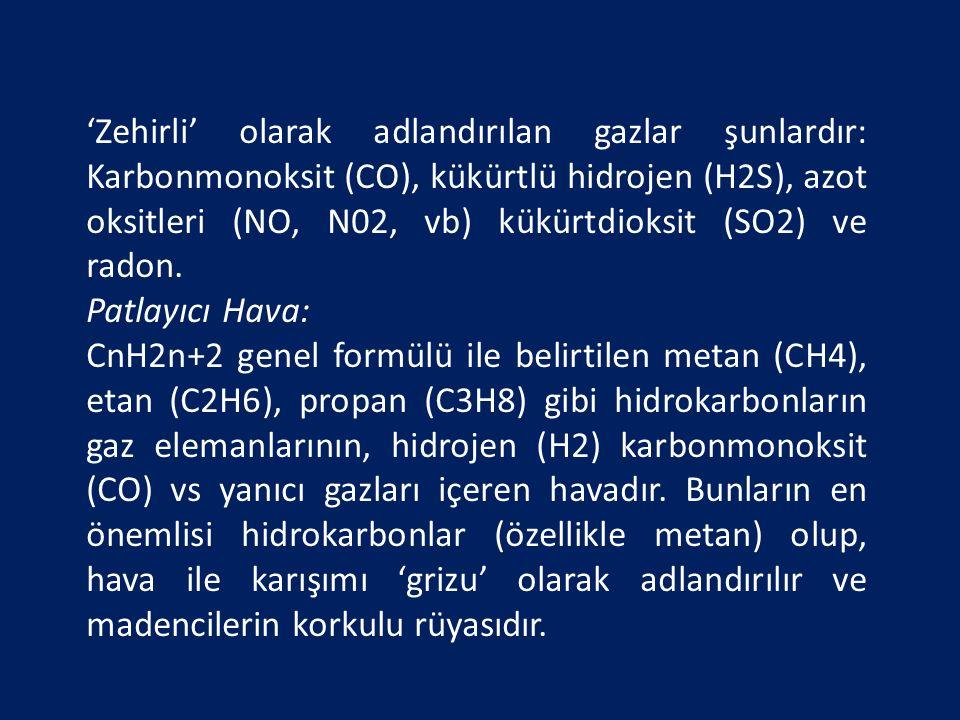 'Zehirli' olarak adlandırılan gazlar şunlardır: Karbonmonoksit (CO), kükürtlü hidrojen (H2S), azot oksitleri (NO, N02, vb) kükürtdioksit (SO2) ve rado