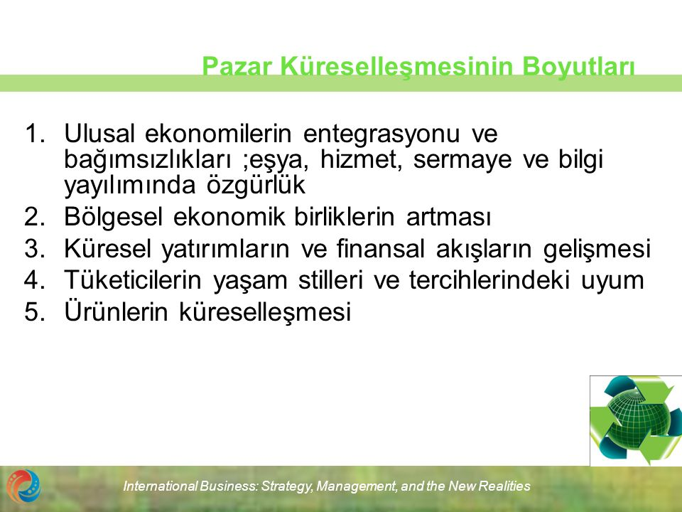 International Business: Strategy, Management, and the New Realities Pazar Küreselleşmesinin Boyutları 1.Ulusal ekonomilerin entegrasyonu ve bağımsızlı
