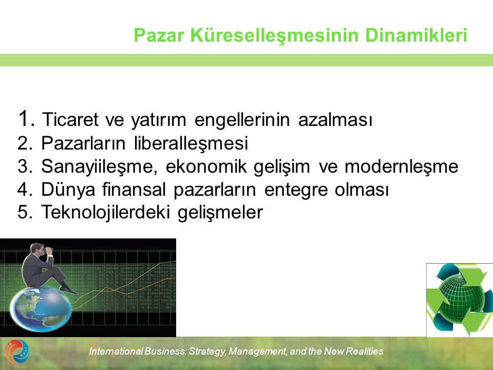 International Business: Strategy, Management, and the New Realities Pazar Küreselleşmesinin Dinamikleri 1. Ticaret ve yatırım engellerinin azalması 2.