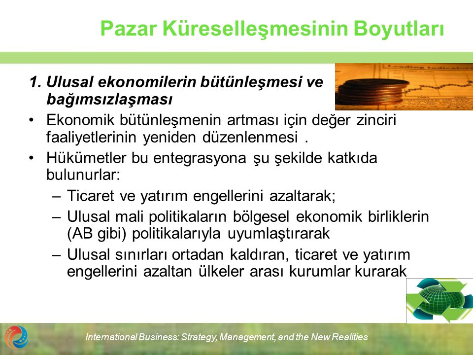 International Business: Strategy, Management, and the New Realities Pazar Küreselleşmesinin Boyutları 1. Ulusal ekonomilerin bütünleşmesi ve bağımsızl