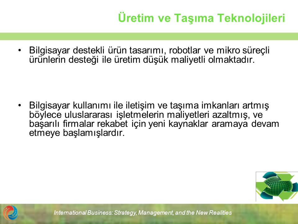 International Business: Strategy, Management, and the New Realities Üretim ve Taşıma Teknolojileri Bilgisayar destekli ürün tasarımı, robotlar ve mikr