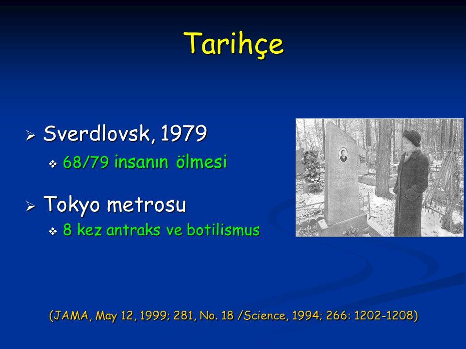 Tarihçe  Sverdlovsk, 1979  68/79 insanın ölmesi  Tokyo metrosu  8 kez antraks ve botilismus (JAMA, May 12, 1999; 281, No.