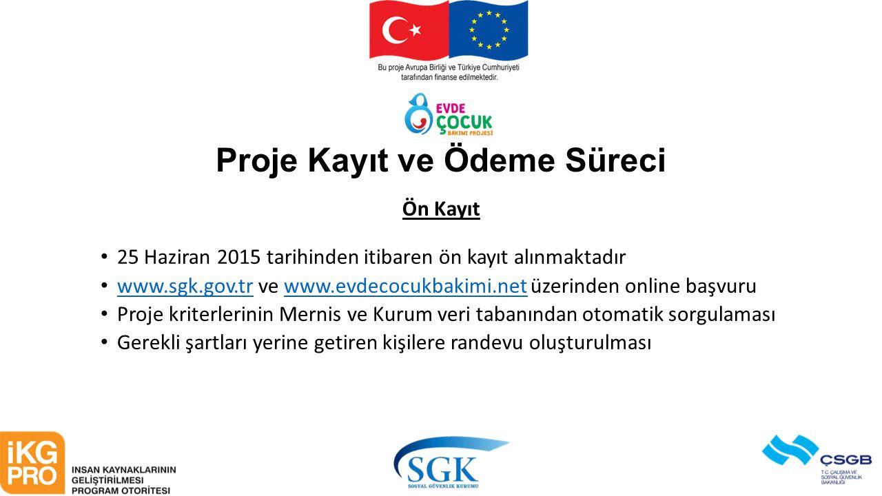 Proje Kayıt ve Ödeme Süreci Ön Kayıt 25 Haziran 2015 tarihinden itibaren ön kayıt alınmaktadır www.sgk.gov.tr ve www.evdecocukbakimi.net üzerinden onl