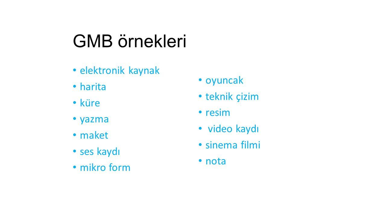 GMB örnekleri elektronik kaynak harita küre yazma maket ses kaydı mikro form oyuncak teknik çizim resim video kaydı sinema filmi nota