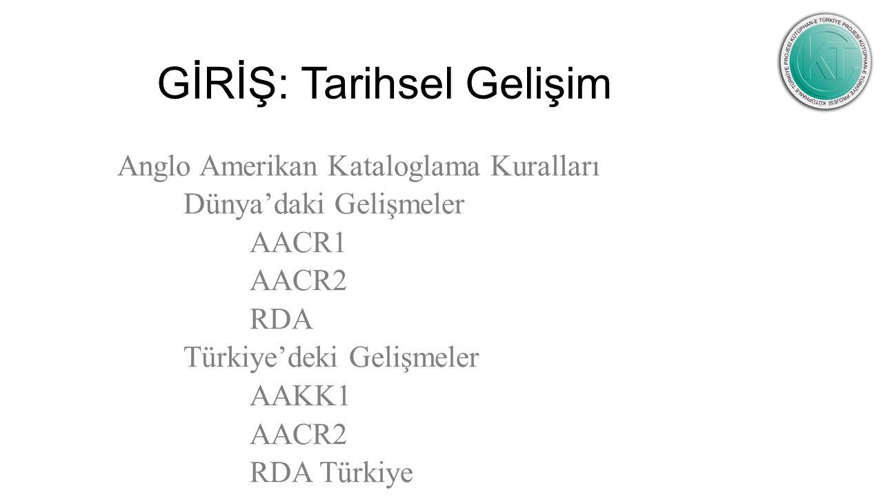GİRİŞ: Tarihsel Gelişim Anglo Amerikan Kataloglama Kuralları Dünya'daki Gelişmeler AACR1 AACR2 RDA Türkiye'deki Gelişmeler AAKK1 AACR2 RDA Türkiye