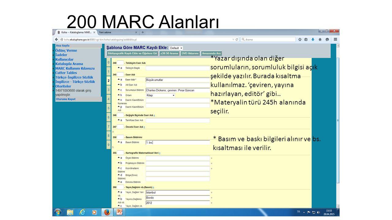200 MARC Alanları *Yazar dışında olan diğer sorumluların, sorumluluk bilgisi açık şekilde yazılır. Burada kısaltma kullanılmaz. 'çeviren, yayına hazır