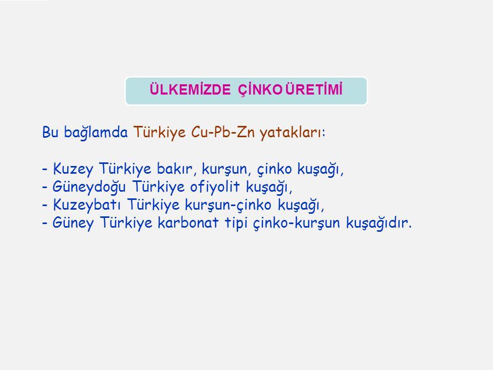 Bu bağlamda Türkiye Cu-Pb-Zn yatakları: - Kuzey Türkiye bakır, kurşun, çinko kuşağı, - Güneydoğu Türkiye ofiyolit kuşağı, - Kuzeybatı Türkiye kurşun-çinko kuşağı, - Güney Türkiye karbonat tipi çinko-kurşun kuşağıdır.