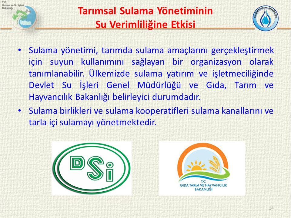 Tarımsal Sulama Yönetiminin Su Verimliliğine Etkisi Sulama yönetimi, tarımda sulama amaçlarını gerçekleştirmek için suyun kullanımını sağlayan bir organizasyon olarak tanımlanabilir.