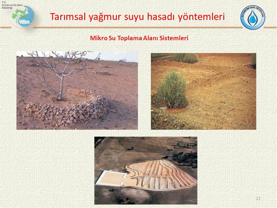 21 Tarımsal yağmur suyu hasadı yöntemleri Mikro Su Toplama Alanı Sistemleri