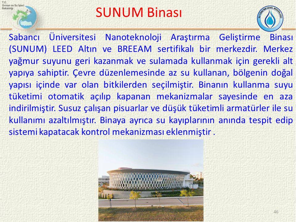 SUNUM Binası 46 Sabancı Üniversitesi Nanoteknoloji Araştırma Geliştirme Binası (SUNUM) LEED Altın ve BREEAM sertifikalı bir merkezdir. Merkez yağmur s