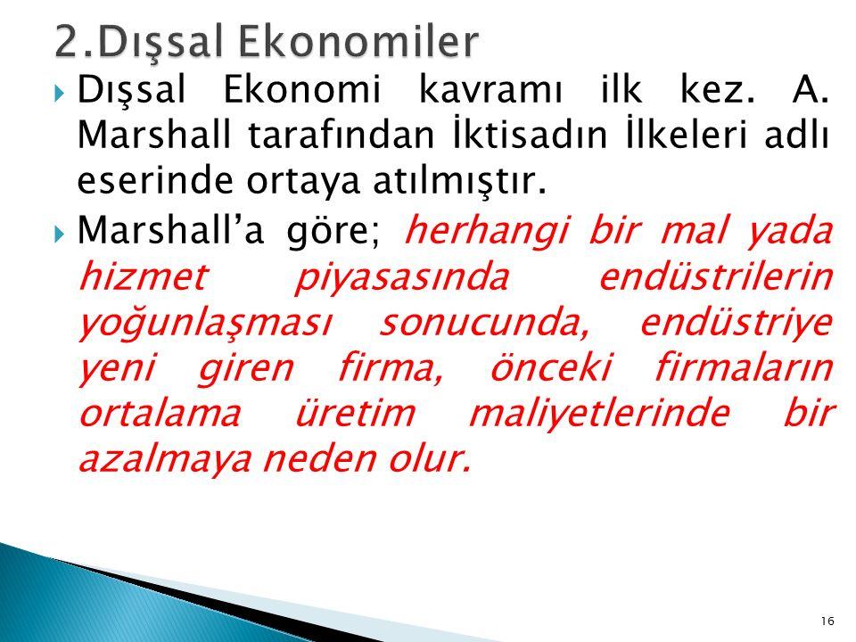  Dışsal Ekonomi kavramı ilk kez. A.