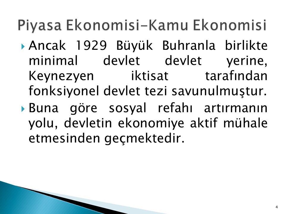  Ancak 1929 Büyük Buhranla birlikte minimal devlet devlet yerine, Keynezyen iktisat tarafından fonksiyonel devlet tezi savunulmuştur.