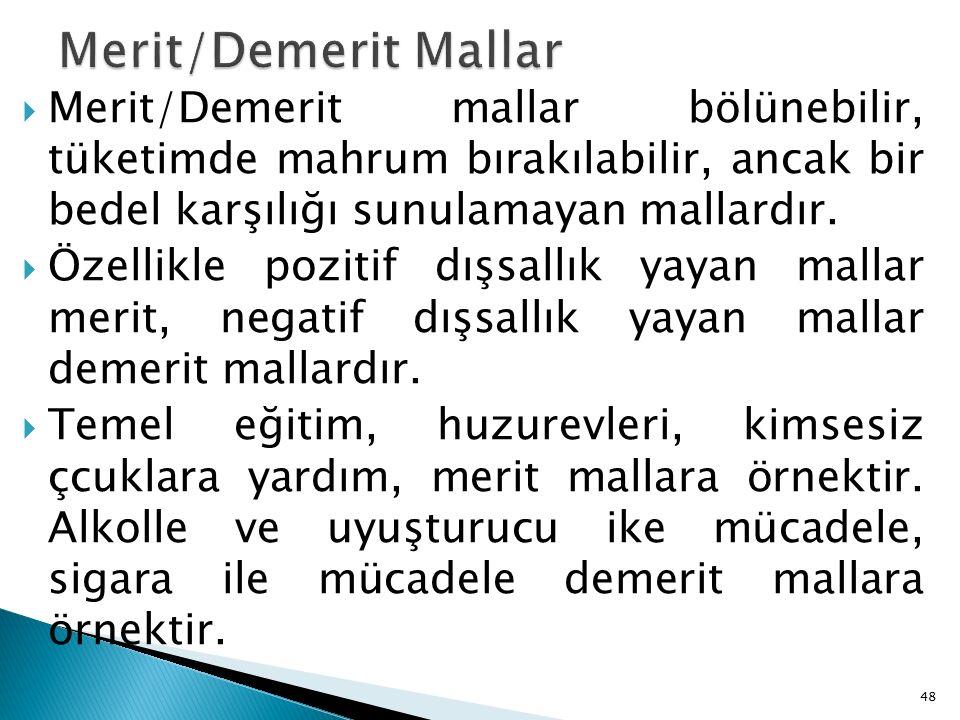  Merit/Demerit mallar bölünebilir, tüketimde mahrum bırakılabilir, ancak bir bedel karşılığı sunulamayan mallardır.
