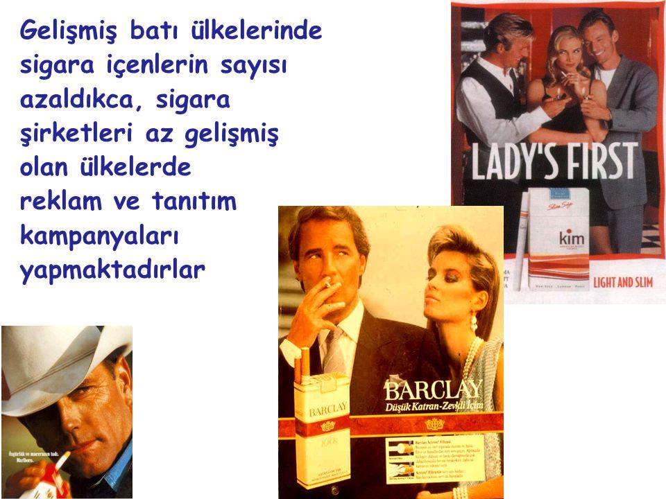 Gelişmiş batı ülkelerinde sigara içenlerin sayısı azaldıkca, sigara şirketleri az gelişmiş olan ülkelerde reklam ve tanıtım kampanyaları yapmaktadırlar