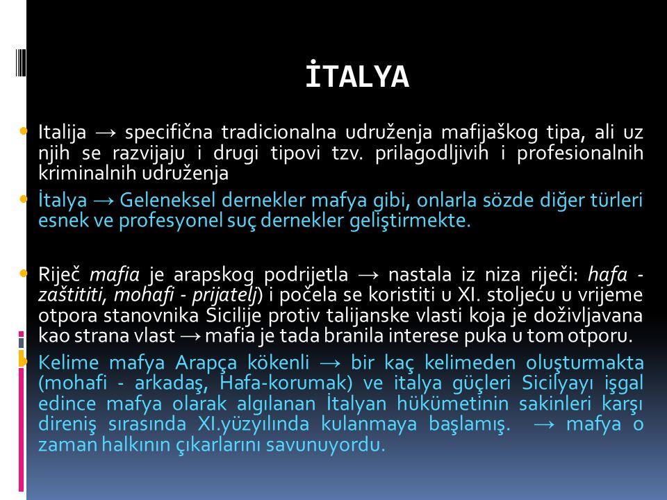 İTALYA Italija → specifična tradicionalna udruženja mafijaškog tipa, ali uz njih se razvijaju i drugi tipovi tzv.