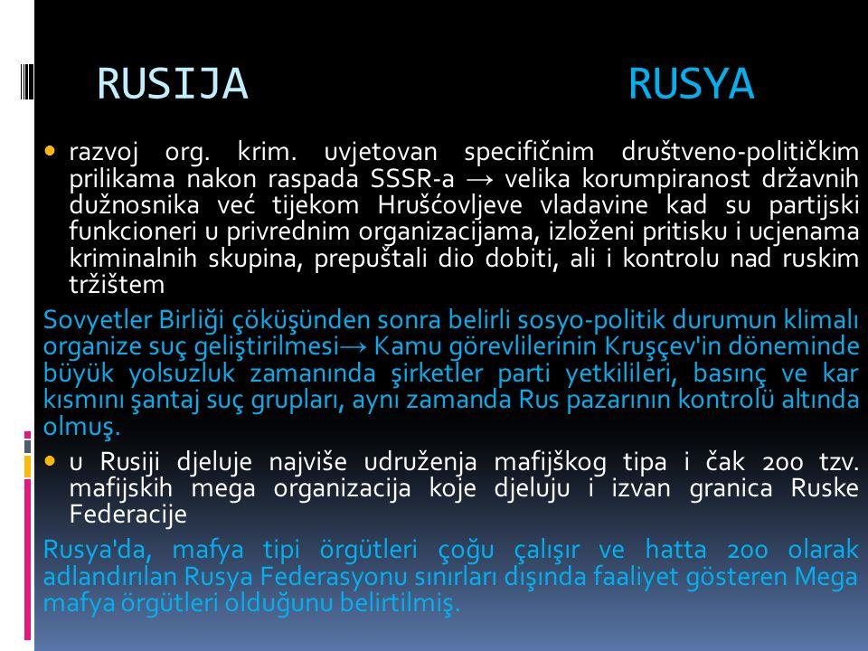 RUSIJA RUSYA razvoj org. krim.