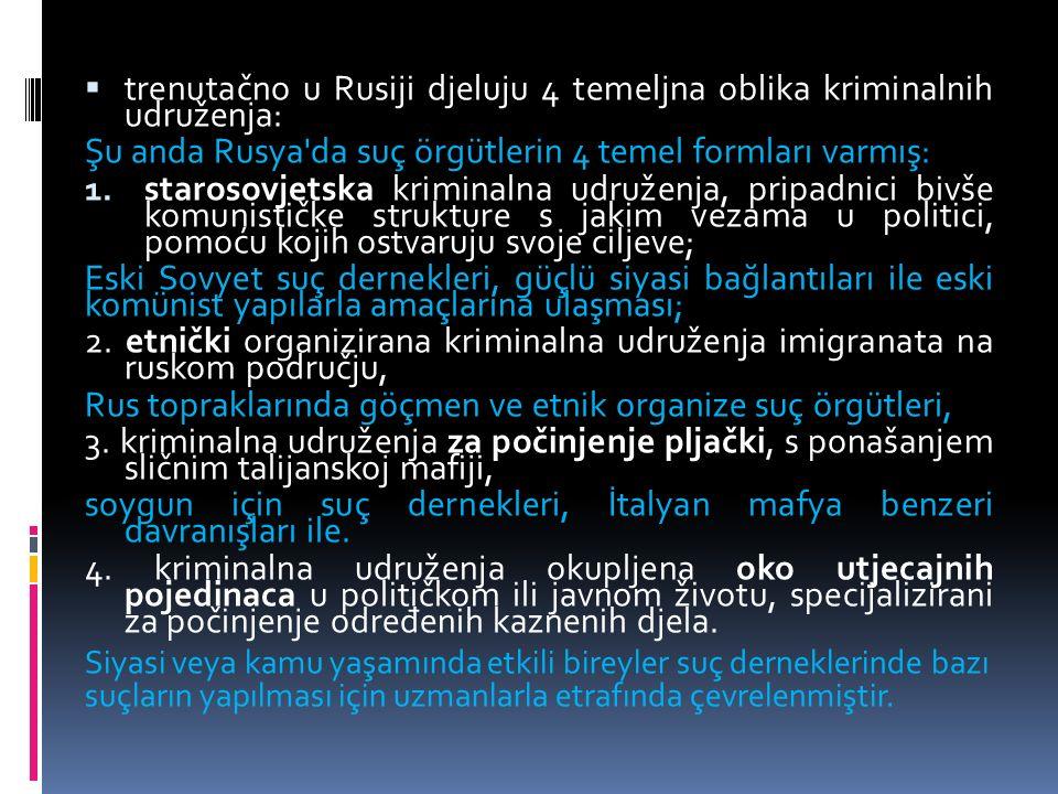 trenutačno u Rusiji djeluju 4 temeljna oblika kriminalnih udruženja: Şu anda Rusya da suç örgütlerin 4 temel formları varmış: 1.