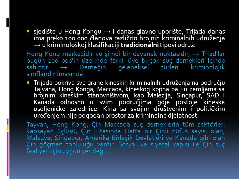 sjedište u Hong Kongu → i danas glavno uporište, Trijada danas ima preko 100 000 članova različito brojnih kriminalnih udruženja → u kriminološkoj klasifikaciji tradicionalni tipovi udruž.