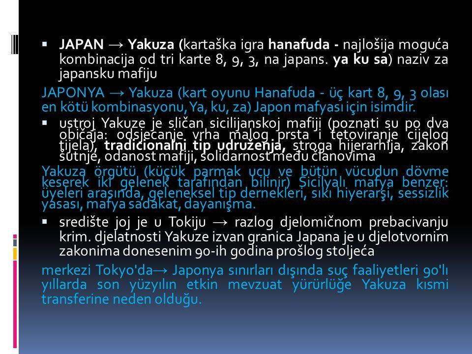 JAPAN → Yakuza (kartaška igra hanafuda - najlošija moguća kombinacija od tri karte 8, 9, 3, na japans.