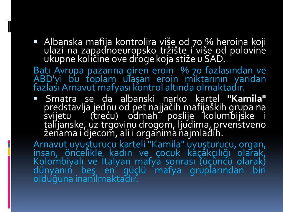  Albanska mafija kontrolira više od 70 % heroina koji ulazi na zapadnoeuropsko tržište i više od polovine ukupne količine ove droge koja stiže u SAD.