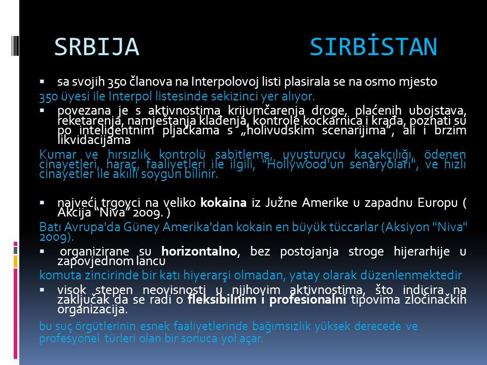 SRBIJA SIRBİSTAN  sa svojih 350 članova na Interpolovoj listi plasirala se na osmo mjesto 350 üyesi ile Interpol listesinde sekizinci yer alıyor.