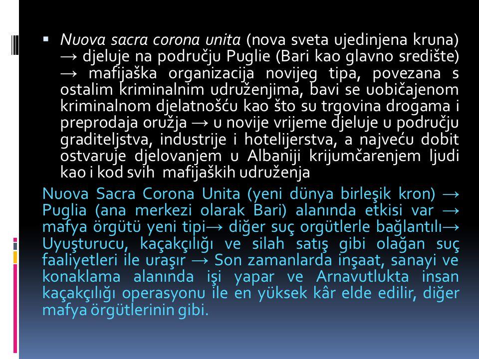  Nuova sacra corona unita (nova sveta ujedinjena kruna) → djeluje na području Puglie (Bari kao glavno središte) → mafijaška organizacija novijeg tipa, povezana s ostalim kriminalnim udruženjima, bavi se uobičajenom kriminalnom djelatnošću kao što su trgovina drogama i preprodaja oružja → u novije vrijeme djeluje u području graditeljstva, industrije i hotelijerstva, a najveću dobit ostvaruje djelovanjem u Albaniji krijumčarenjem ljudi kao i kod svih mafijaških udruženja Nuova Sacra Corona Unita (yeni dünya birleşik kron) → Puglia (ana merkezi olarak Bari) alanında etkisi var → mafya örgütü yeni tipi → diğer suç orgütlerle bağlantılı → Uyuşturucu, kaçakçılığı ve silah satış gibi olağan suç faaliyetleri ile uraşır → Son zamanlarda inşaat, sanayi ve konaklama alanında işi yapar ve Arnavutlukta insan kaçakçılığı operasyonu ile en yüksek kâr elde edilir, diğer mafya örgütlerinin gibi.