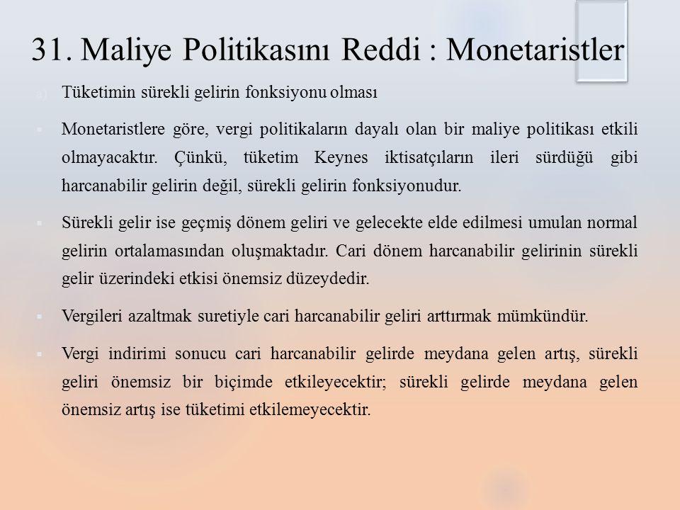Monetarist dışlama etkisi  Monetarist iktisada göre kamu harcamalarının ortaya çıkardığı etki, nasıl finanse edildiği ile ilgilidir.