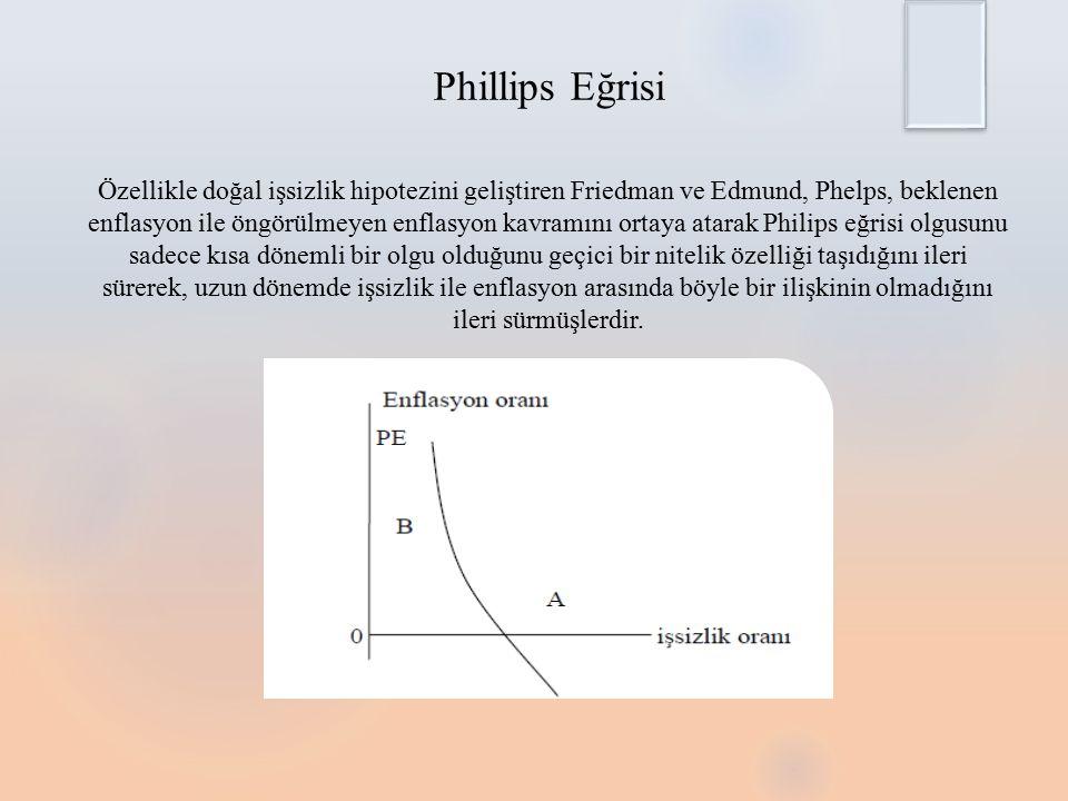 Phillips Eğrisi Özellikle doğal işsizlik hipotezini geliştiren Friedman ve Edmund, Phelps, beklenen enflasyon ile öngörülmeyen enflasyon kavramını ortaya atarak Philips eğrisi olgusunu sadece kısa dönemli bir olgu olduğunu geçici bir nitelik özelliği taşıdığını ileri sürerek, uzun dönemde işsizlik ile enflasyon arasında böyle bir ilişkinin olmadığını ileri sürmüşlerdir.