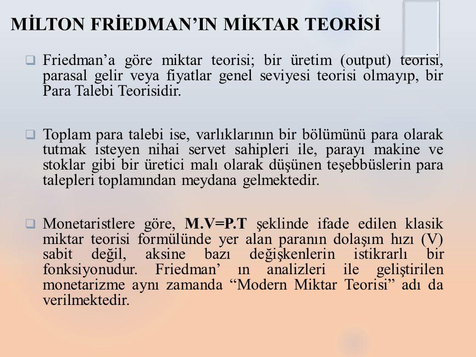 MİLTON FRİEDMAN'IN MİKTAR TEORİSİ  Friedman'a göre miktar teorisi; bir üretim (output) teorisi, parasal gelir veya fiyatlar genel seviyesi teorisi olmayıp, bir Para Talebi Teorisidir.