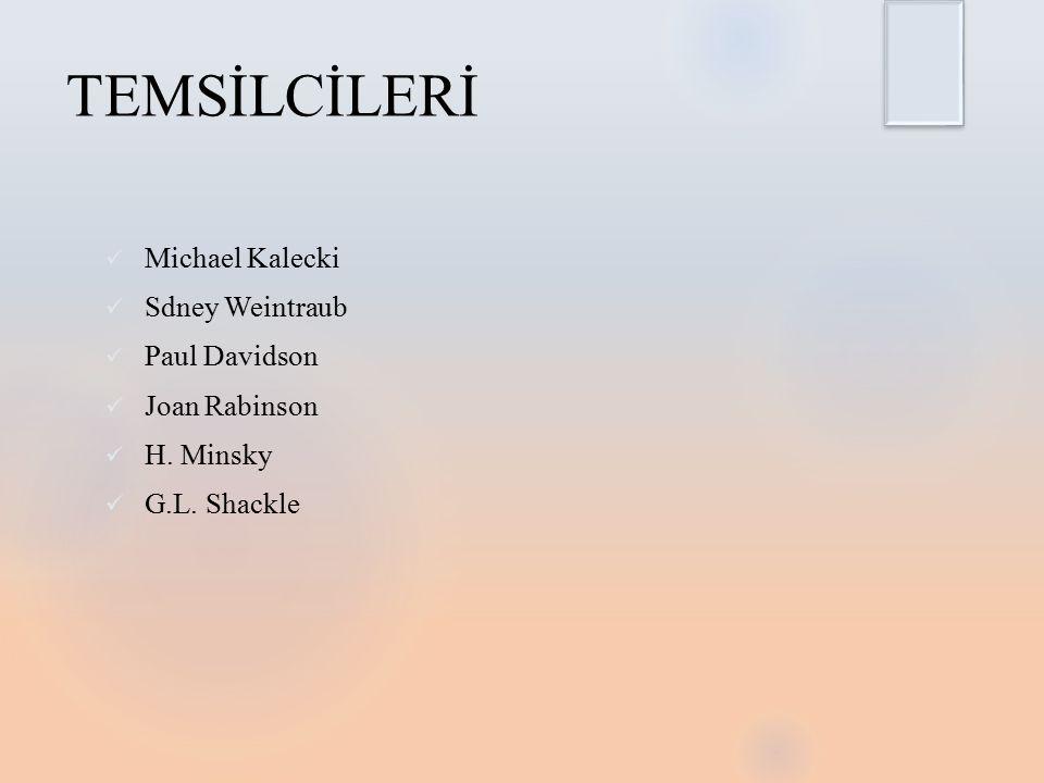 TEMSİLCİLERİ Michael Kalecki Sdney Weintraub Paul Davidson Joan Rabinson H. Minsky G.L. Shackle